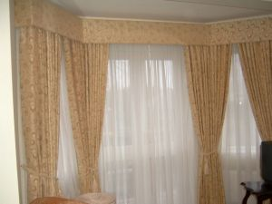 Bay window curtains & upholstered pelmet
