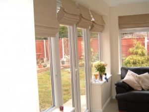 Garden room roman blinds