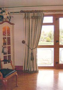 Pinch pleat curtains rope & bullion fringe detail