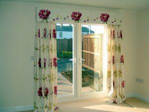 Upholstered pelmet  & display curtains
