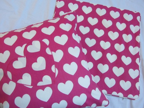 Pink white hearts applique cushion from cushions to curtains