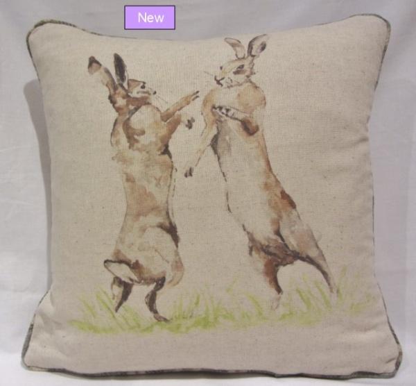 Voyage Boxing Hares cushion_0